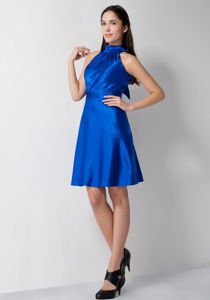 High-neck A-line Royal Blue Bridesmaid Dama Dress Knee-length