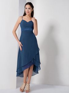 Spaghetti Straps High-low Chiffon Dama Dress in Navy Blue