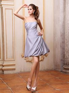 Strapless Mini-length A-line Dama Dress for Cocktail in Grey