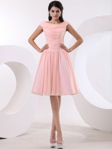 Bateau Mini-length Prom Dama Dress in Baby Pink with Ruches