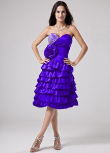 Ruffled Layers and Flower Sweetheart Dama Dress in Purple