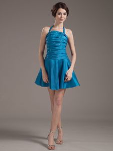 Halter A-line Aqua Blue Dama Dress with Beading and Ruching