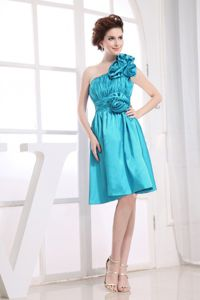 Hand Made Flower and Ruche One Shoulder Baby Blue Dama Dress
