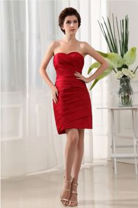 Mini-length Wine Red Ruched Over Skirt Strapless Dama Dress