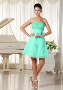 Spaghetti Straps Beading and Bowknot Apple Green Dama Dress