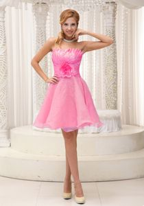Hand Made Flower Hot Pink Beading Sweet 16 Dress for Dama