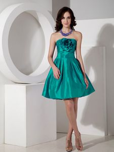 Strapless A-line Party Dama Dress Hand Flowers in Turquoise