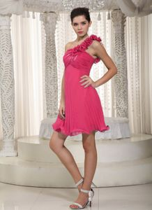 Hot Pink One Shoulder Chiffon Dama Dress Beading and Flowers