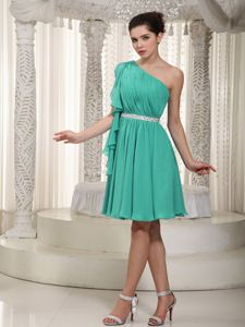 Turquoise One Shoulder Mini-length Chiffon Beaded Dama Dress