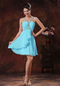 2013 Straps Dama Dress in Baby Blue with Beading and Ruches