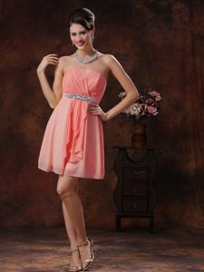 Beaded and Ruched Watermelon Red Strapless Empire Dama Dress
