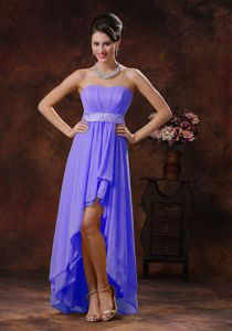 Purple High-low Empire Dama Dress for Quinceanera with Belt