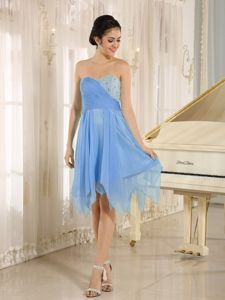 Beading and Ruches Light Blue Sweetheart Empire Dama Dress