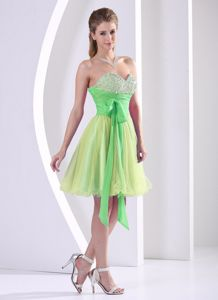 Multi-color Beaded and Ruched Sweetheart Dama Dress with Sash