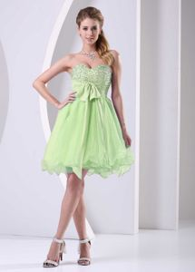 Yellow Green Sweetheart Beading and Sash Chiffon Dama Dress