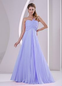 Exquisite Lilac One Shoulder Empire Pleat Chiffon Dama Dress
