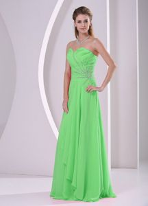 Sweetheart Beaded and Ruched Chiffon Green Party Dama Dress