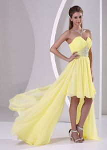 High-low Sweetheart Beaded and Ruched Dama Dress in Yellow