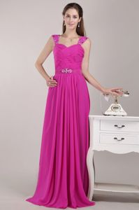 Hot Pink Straps Empire Chiffon Beading and Ruching Dama Dress