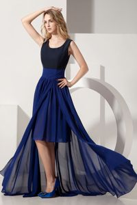 High-low Scoop Empire Chiffon Navy Blue Dama Dress for Party