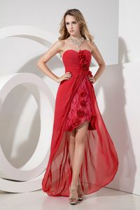 Sweetheart High-low Red Dama Dress with Flower and Embroidery