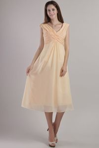 Yellow V-neck Empire Ankle-length Chiffon Ruched Dama Dress
