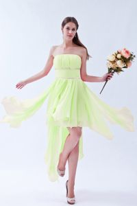 Yellow Green Beaded Strapless Empire Asymmetrical Dama Dress