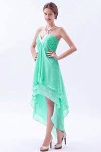 Apple Green Beading V-neck High-low Chiffon Ruched Dama Dress