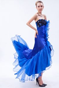 Appliques Mermaid Strapless High-low Dama Dress in Royal Blue