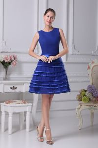 Blue Scoop Layers A-line Chiffon Party Dama Dress with Belt