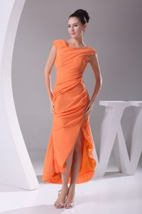 Cap Sleeves Scoop Tea-length Slit Orange Ruches Dama Dress