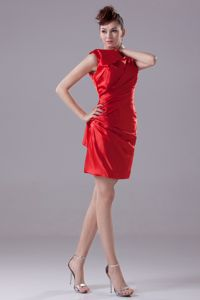 Unique High Neck Column Mini-length Ruches Dama Dress in Red