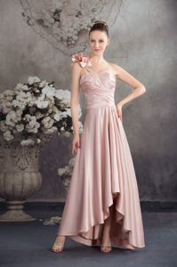 Flowers One Shoulder High-low Ruched Pink Dresses for Dama