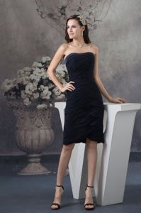 Black Strapless Ruched Chiffon Prom Dama Dress Knee-length