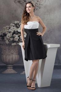 Strapless White and Black Ruched Column 2013 Party Dama Dress