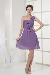 One Shoulder Ruches Chiffon Dama Dress Mini-length in Lilac