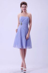 Lilac Appliques Strapless Chiffon A-line Ruched Dama Dress