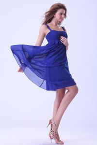 Royal Blue Straps Knee-length Chiffon Dama Dress with Ruches