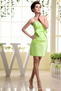 Strapless Bow and Ruches Yellow Green Dama Dress Mini-length