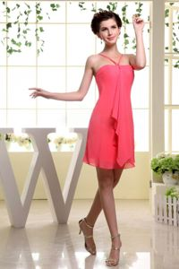 Mini-length Coral Red Bridesmaid Dress for Dama With Straps
