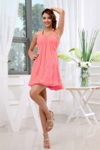 Halter A-Line Ruches Mini-length Dama Dress Watermelon Red