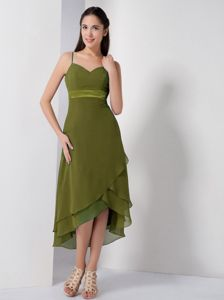 Spaghetti Straps High-low Olive Green Damas Dress for Quince