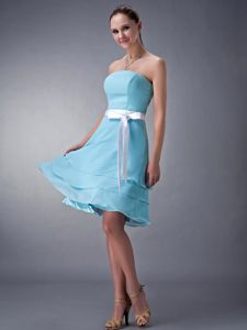 Cheap Aqua Blue Strapless Empire Chiffon Dama Dress with Sash