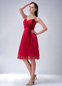 Hand Made Flower Wine Red Spaghetti Straps Column Dama Dress