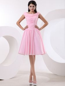 Baby Pink Bateau A-line Damas Dresses for Quince with Ruche