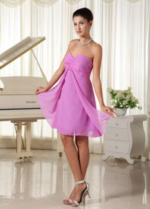 Sweetheart Ruched Chiffon Lavender Sweet 15 Dress for Damas