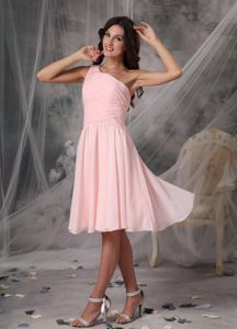 One Shoulder Baby Pink Empire Chiffon Bridesmaid Dama Dress