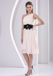 Champagne One Shoulder Chiffon Dama Dress with Flower Belt