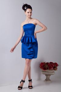 Ruches and Ruffles Strapless Column Royal Blue Dama Dress