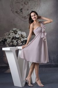 Ruching and Layers One Shoulder Ankle-length Grey Dama Dress